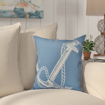 Hancock Anchored Geometric Print Outdoor Throw Pillow Size: 18 H x 18 W, Color: Blue