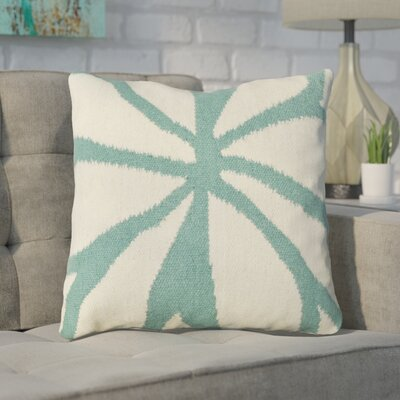 Rametta Throw Pillow Size: 18 H x 18 W x 4 D, Color: Ivory/Turquoise, Filler: Down
