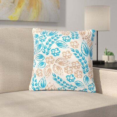 Maria Bazarova Blue Flowers Floral Outdoor Throw Pillow Color: White, Size: 16 H x 16 W x 5 D