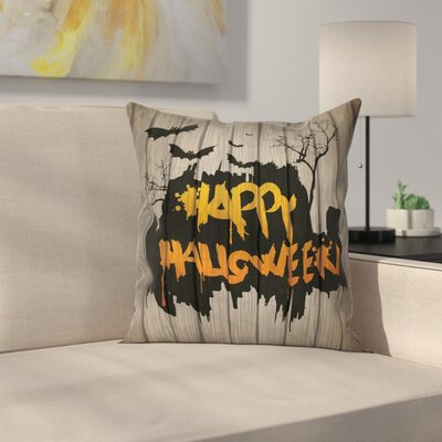 Halloween Decor Quote Bats Art Square Pillow Cover Size: 16 x 16