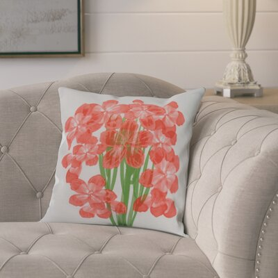 Dever Floral Print Indoor/Outdoor Throw Pillow Color: Orange, Size: 16 x 16