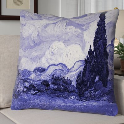 Bristol Woods Wheatfield with Cypresses Euro Pillow Color: Blue