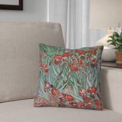 Morley Irises Square Pillow Cover Size: 14 x 14, Color: Red