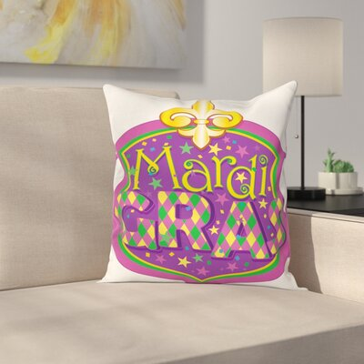 Mardi Gras Fleur De Lis Blazon Square Cushion Pillow Cover Size: 16 x 16