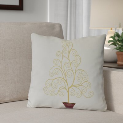 Filigree Tree Outdoor Throw Pillow Size: 18 H x 18 W, Color: Off White