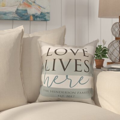 Biscay Love Lives Here Striped Throw Pillow
