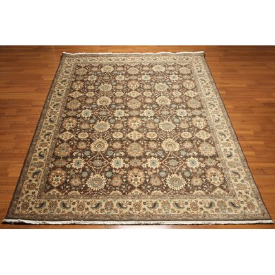 One-of-a-Kind Grandmasters Wool Beige/Chocolate Area Rug