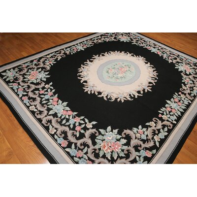 One-of-a-Kind Repp Aubusson Oriental Hand-Knotted Wool Black/Peach Area Rug