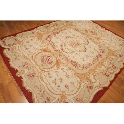 One-of-a-Kind Repp Aubusson Oriental Hand-Knotted Wool Beige/Gold Area Rug