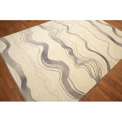 One-of-a-Kind Schaper Wool Gray/Ivory Area Rug