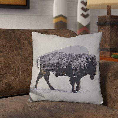 Olmos the American Bison Throw Pillow