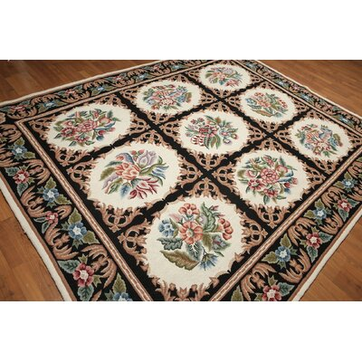 One-of-a-Kind Repass Oriental Floor Model Needlepoint Hand-Woven Wool Ivory/Black Area Rug