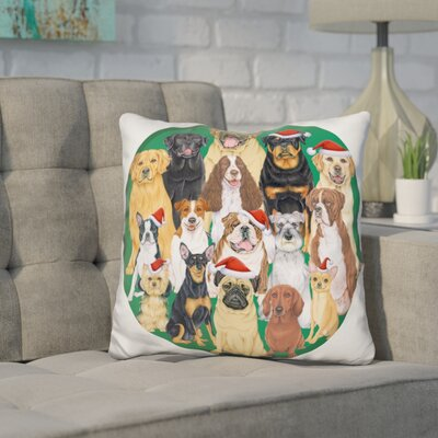 Corinthian Dog Group Round Throw Pillow