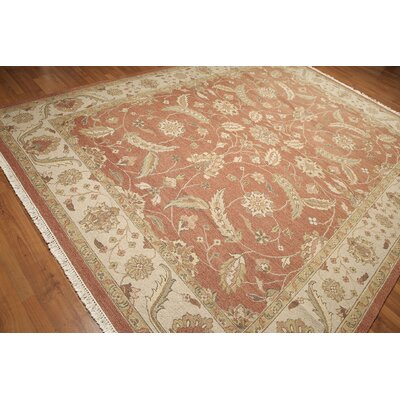 One-of-a-Kind Replogle Soumac Persian Oriental Hand-Knotted Wool Rusty Salmon/Beige Area Rug
