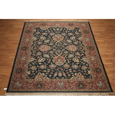 One-of-a-Kind Calla Persian Oriental Hand-Knotted Wool Navy/Rust Area Rug
