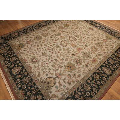 One-of-a-Kind Calla Persian Oriental Hand-Knotted Wool Beige Area Rug