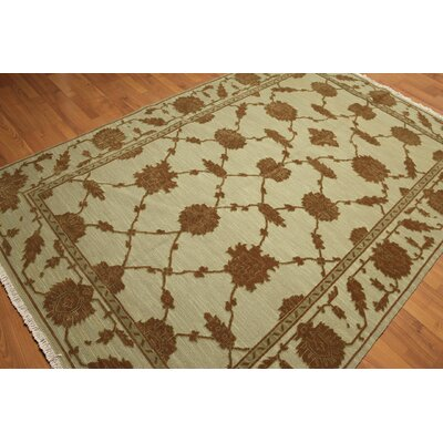 One-of-a-Kind Hameldon Hand-Knotted Wool Green/Brown Area Rug