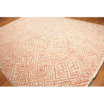 One-of-a-Kind Fitch Wool Beige/Coral Area Rug