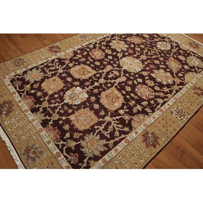One-of-a-Kind Renz Hand-Knotted Wool Egg Plant/Gold Area Rug