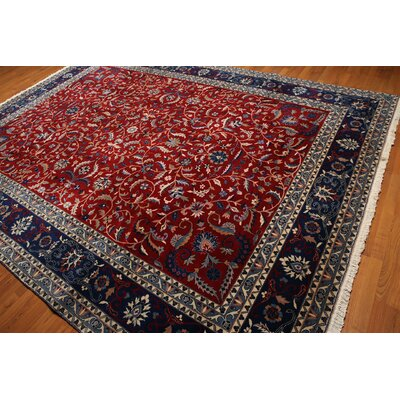 One-of-a-Kind Rawls Hand-Knotted Wool Blue/Red Area Rug