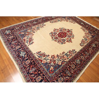 One-of-a-Kind Rawson Hand-Knotted Wool Beige/Blue/Red Area Rug