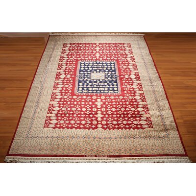 One-of-a-Kind Rayan Hand-Knotted Wool Beige/Blue/Red Area Rug