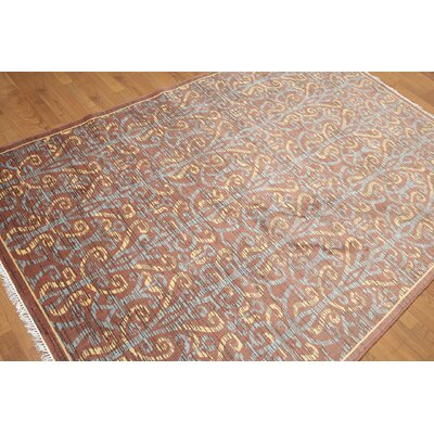 One-of-a-Kind Dimattia Wool Rusty Brown/Blue Area Rug