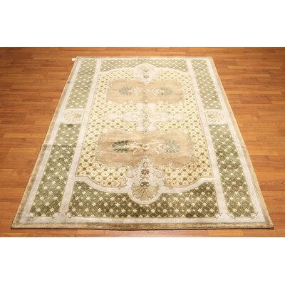 One-of-a-Kind Rauscher Hand-Knotted Wool Green/Beige Area Rug