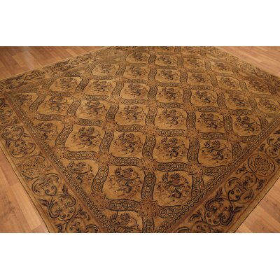 One-of-a-Kind Rayl Tibetan Hand-Knotted Wool Brown Area Rug