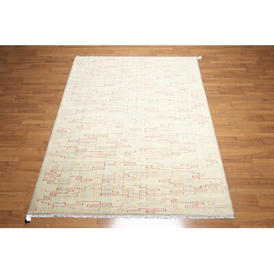 One-of-a-Kind Losada Wool Beige/Aqua Area Rug
