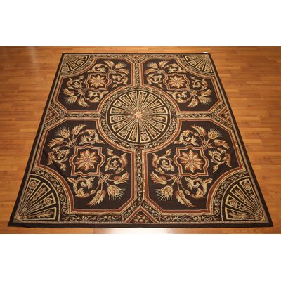 One-of-a-Kind Raymo Needlepoint Hand-Knotted Wool Gold/Dark Brown Area Rug