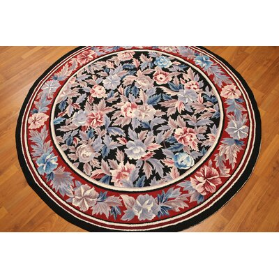 One-of-a-Kind Reagle Needlepoint Hand-Knotted Wool Black/Red Area Rug