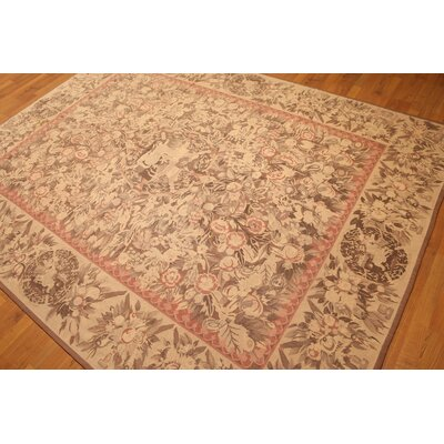 One-of-a-Kind Reale Needlepoint Hand-Knotted Wool Tan Area Rug