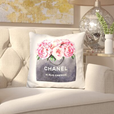 Isley Shipping Bag with Peonies Throw Pillow