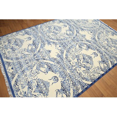 One-of-a-Kind Griswold Wool Off White/Blue Area Rug