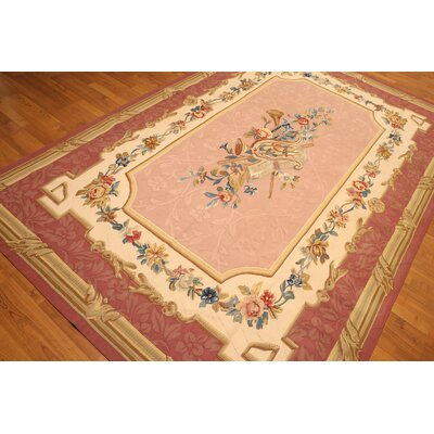One-of-a-Kind Red Hook Needlepoint Hand-Knotted Wool Rose/Beige Area Rug