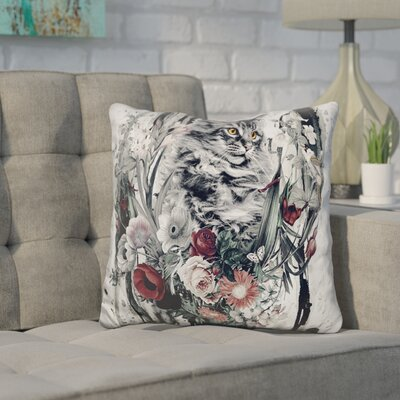 Core Cat in Flowers Throw Pillow
