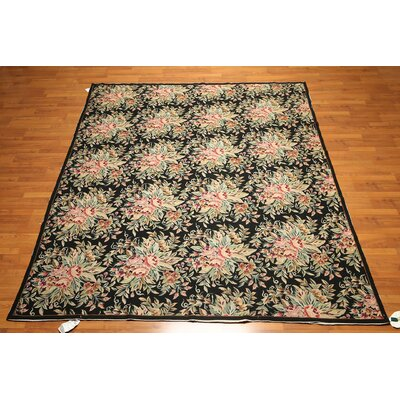 One-of-a-Kind Redington Needlepoint Hand-Knotted Wool Black/Green Area Rug