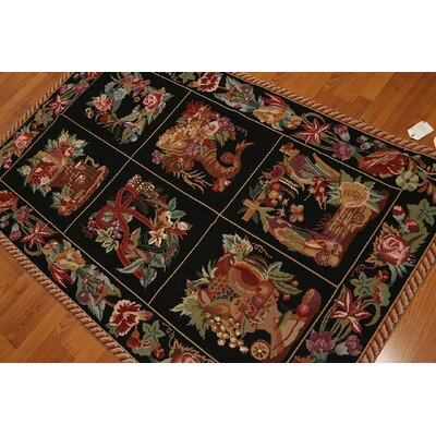 One-of-a-Kind Redbrook Needlepoint Hand-Knotted Wool Black/Pink Area Rug