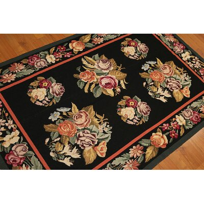 One-of-a-Kind Redd Needlepoint Hand-Knotted Wool Black/Brown Area Rug