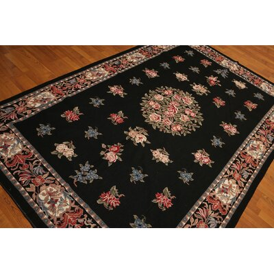 One-of-a-Kind Redden Needlepoint Hand-Knotted Wool Black/Pink Area Rug