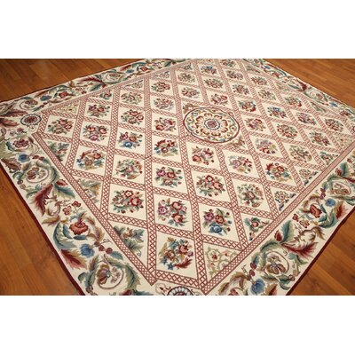 One-of-a-Kind Redrick Needlepoint Hand-Knotted Wool Ivory/Burgundy Area Rug