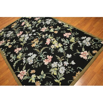 One-of-a-Kind Reddin Needlepoint Hand-Knotted Wool Black/Pink Area Rug