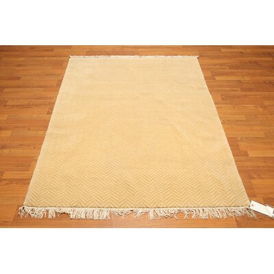 One-of-a-Kind Geller Hand-Knotted Wool Beige Area Rug