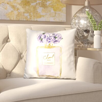Melia Perfume Bottle Hydrangea Throw Pillow