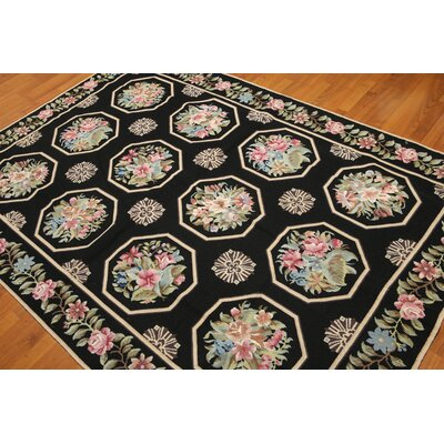 One-of-a-Kind Reardon Needlepoint Hand-Knotted Wool Black Area Rug