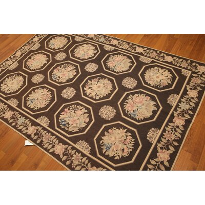One-of-a-Kind Rearick Needlepoint Hand-Knotted Wool Brown/Beige Area Rug