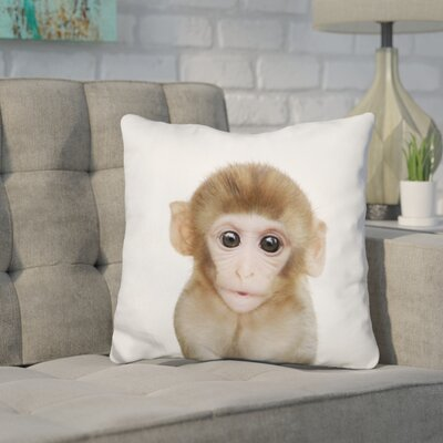 Hoeft Baby Monkey Throw Pillow Color: Brown