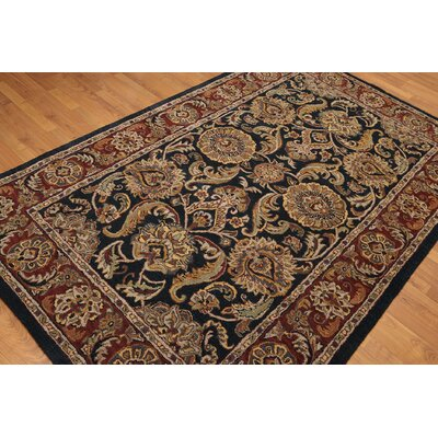 One-of-a-Kind Cali Hand-Knotted Wool Beige/Black Area Rug