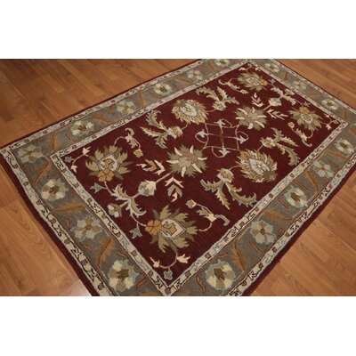 One-of-a-Kind Reinhard Hand-Tufted Wool Burgundy/Gray Area Rug